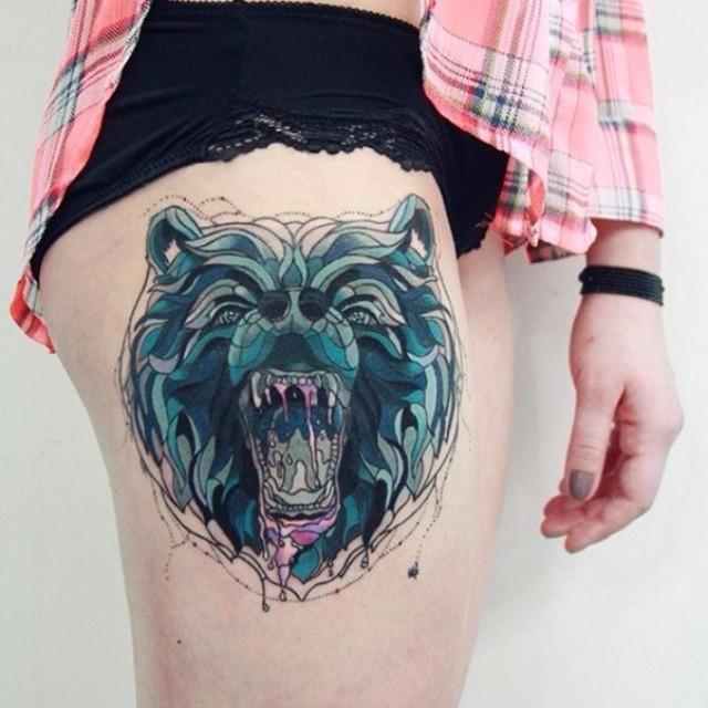 Hip Saliva Teeth Bear tattoo