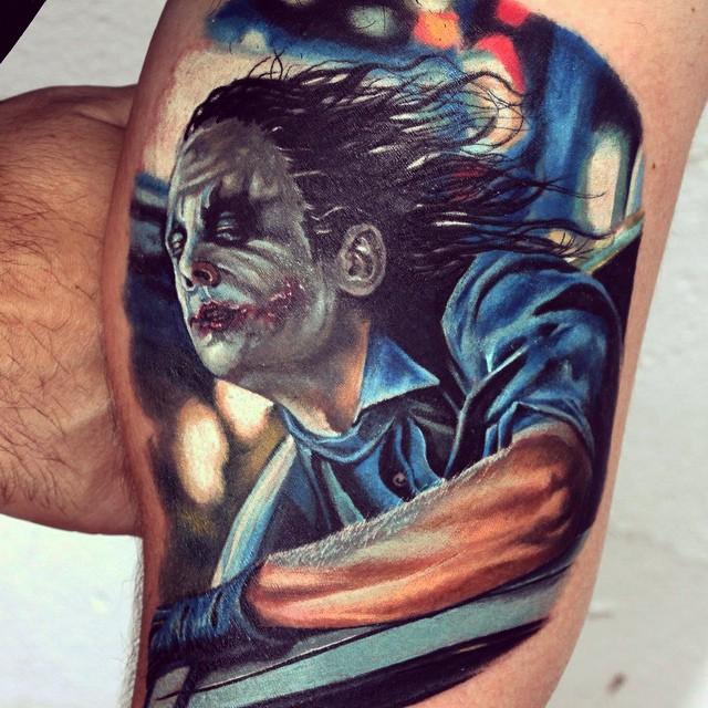 Joker in Car Realistic tattoo