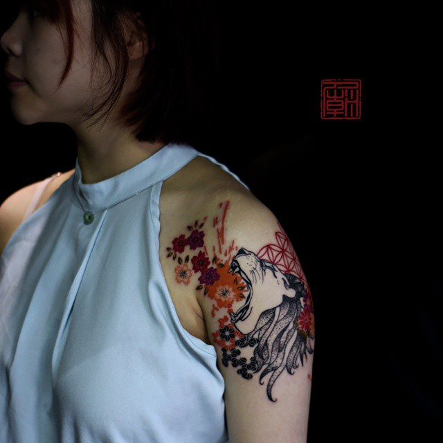 Lion's Roar tattoo on Shoulder