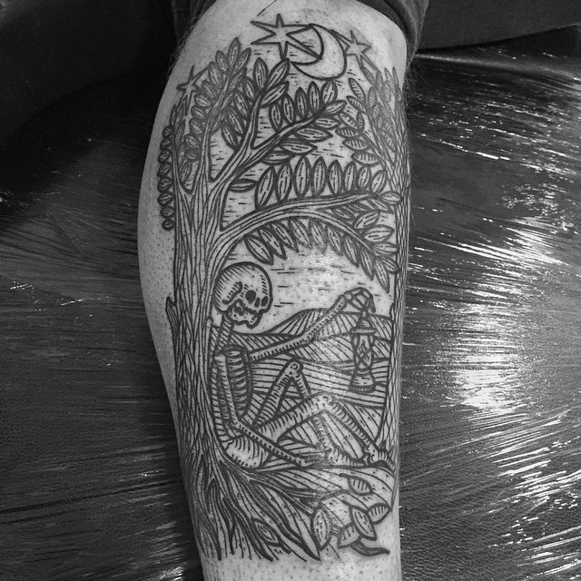 Lonely Under The Tree Skeleton tattoo