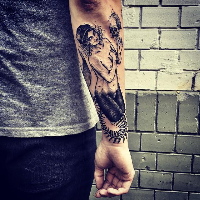 Naked Mermaid Skeleton Tail Arm tattoo