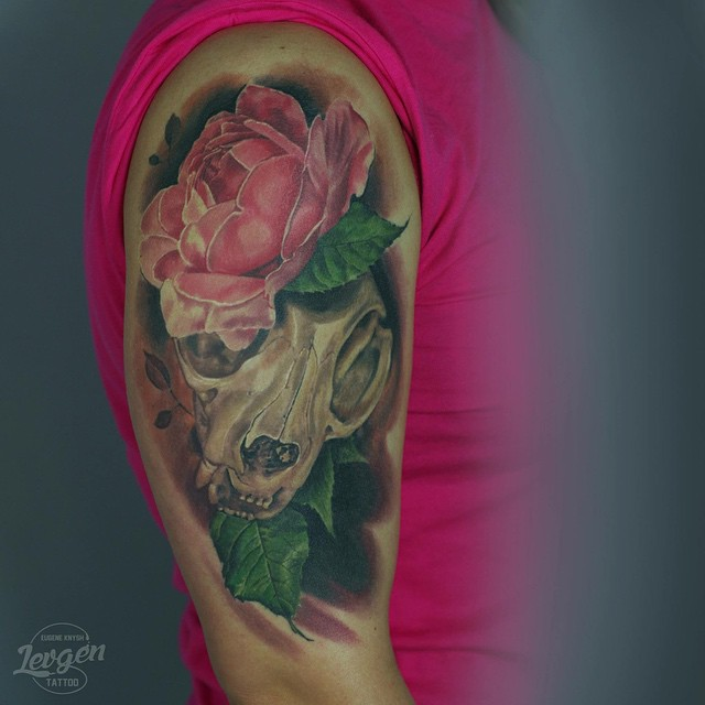 Pink Flower and Skull Shoulder tattoo