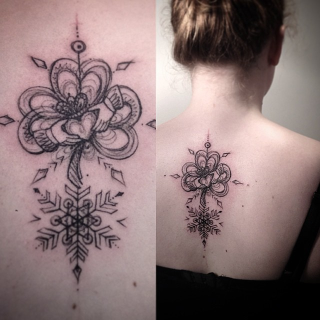 Royal Clover Snowflake Back tattoo