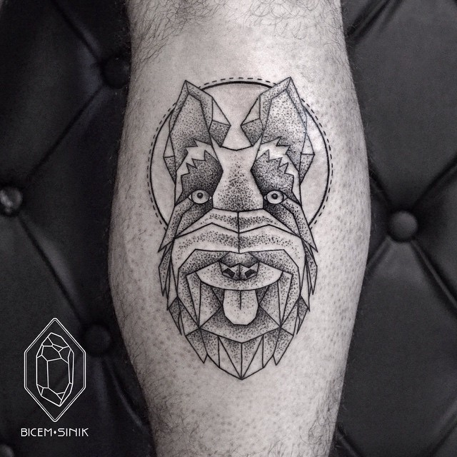 Scottish Terrier tattoo on Leg