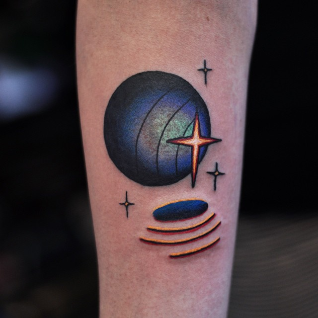 Signals Sending Planet tattoo