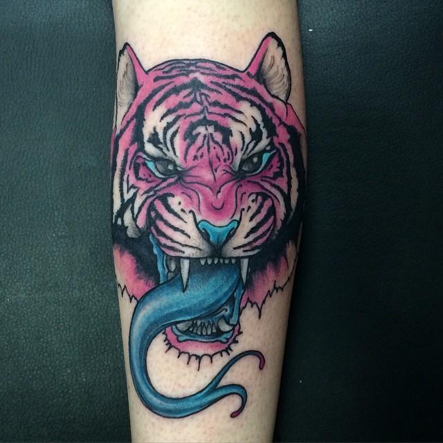Snake Tongue Tiger tattoo