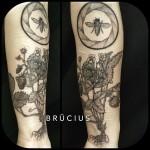 Strawbery Bee tattoo on Arm