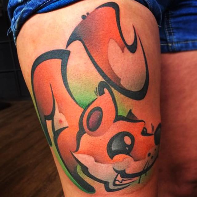Thigh Funny Fox tattoo