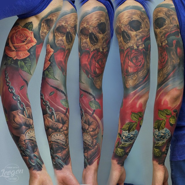 Time Skull Dimonds Tattoo Sleeve