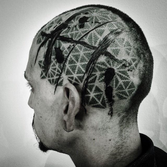 Trash Polka Dotwork Pattern Head tattoo