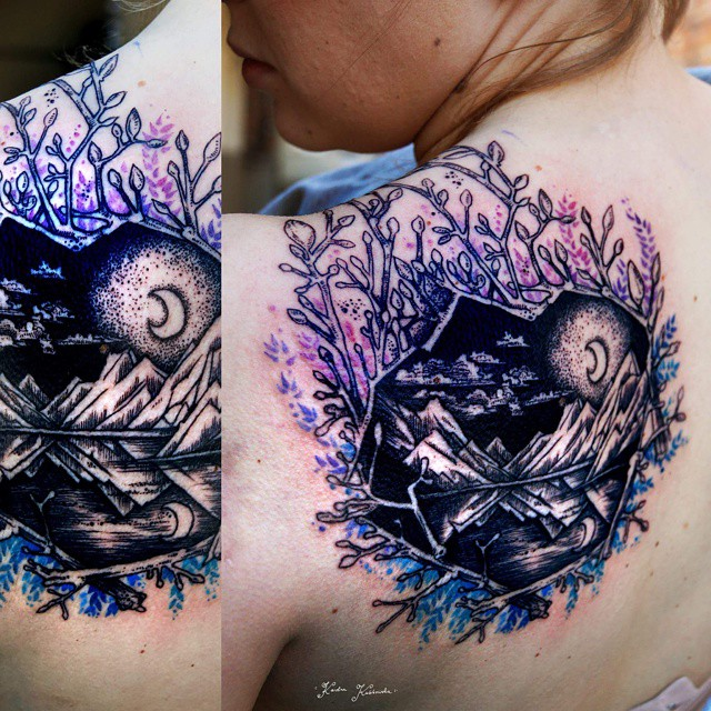 Wild Lake Moon Tattoo