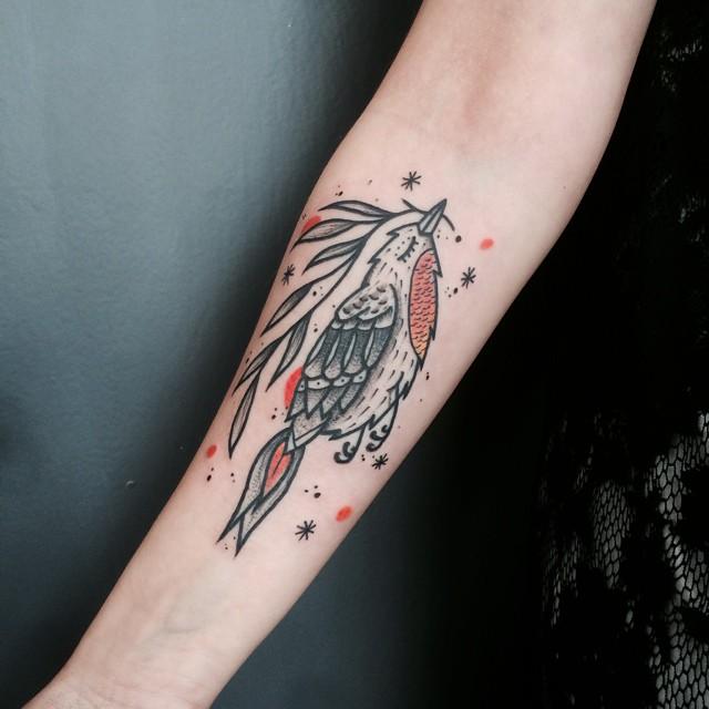 Bird Fly Tattoo on Arm