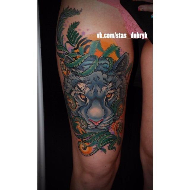 Blue Tiger Thigh Tattoo