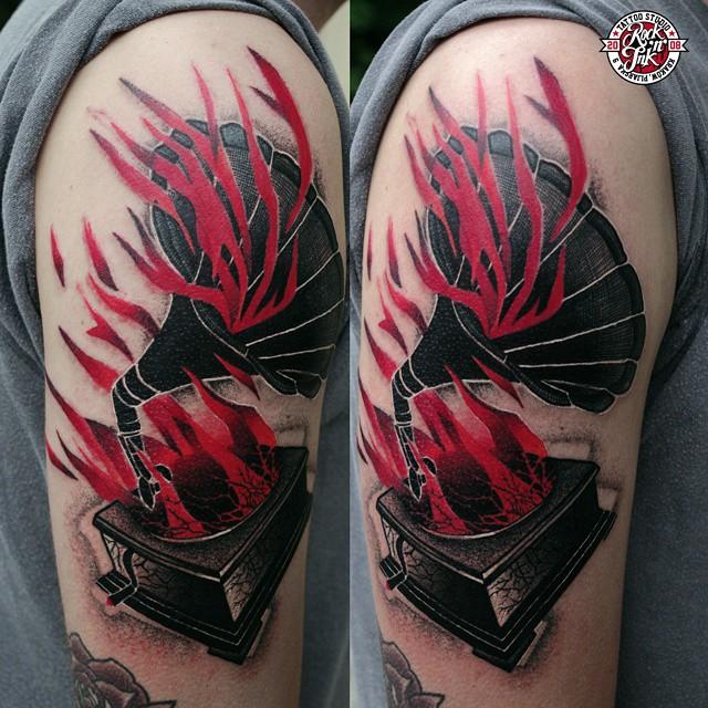 Burning Gramophone Shoulder Tattoo