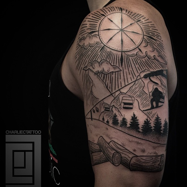 Camping in Winter Tattoo on Shoulder