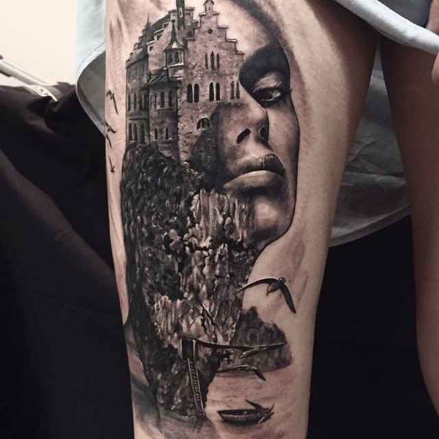 Castle Face Thigh Tattoo