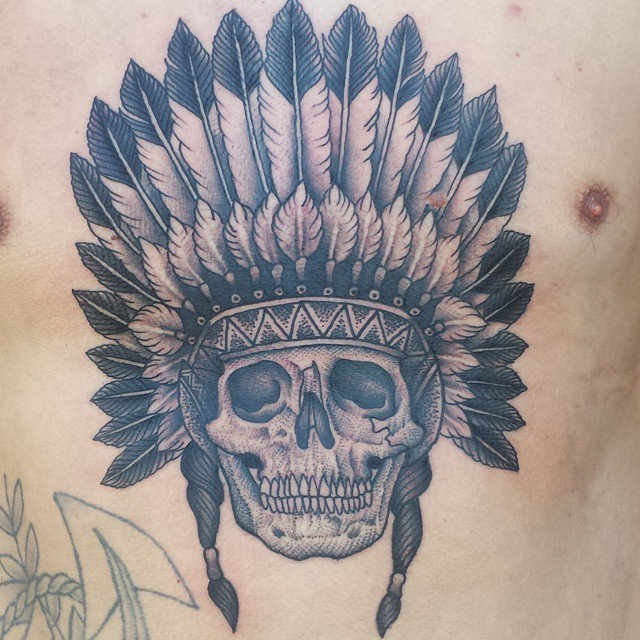 Chest Indian Feather Skull Tattoo