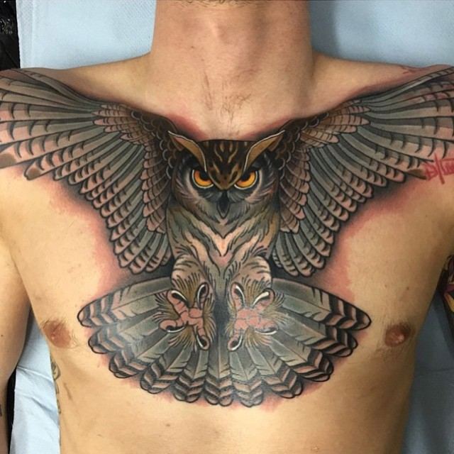 Chest Wide Wings Owl Tattoo