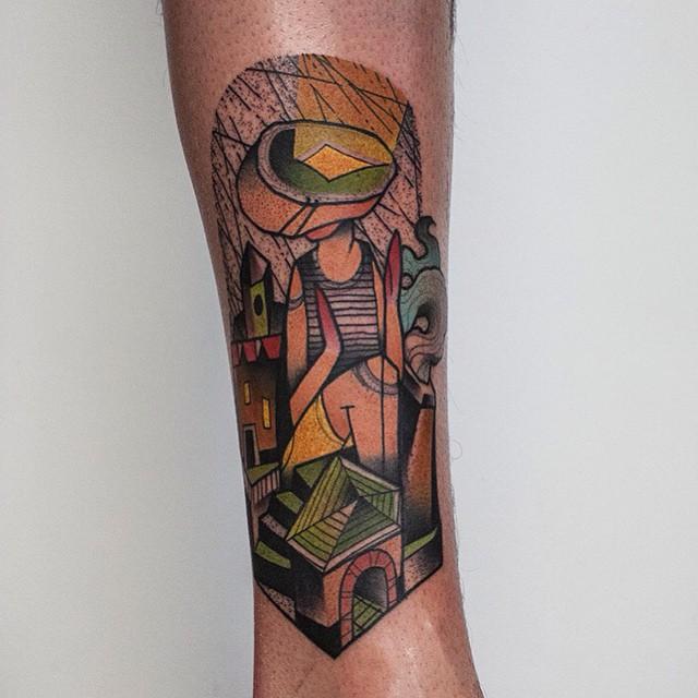 Crazy Cubizm Leg tattoo