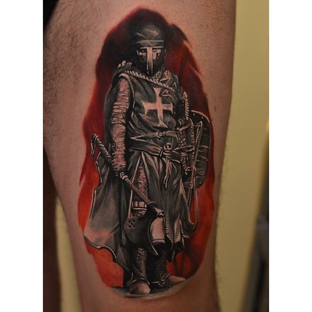 Crusader Knight Tattoo on Thigh