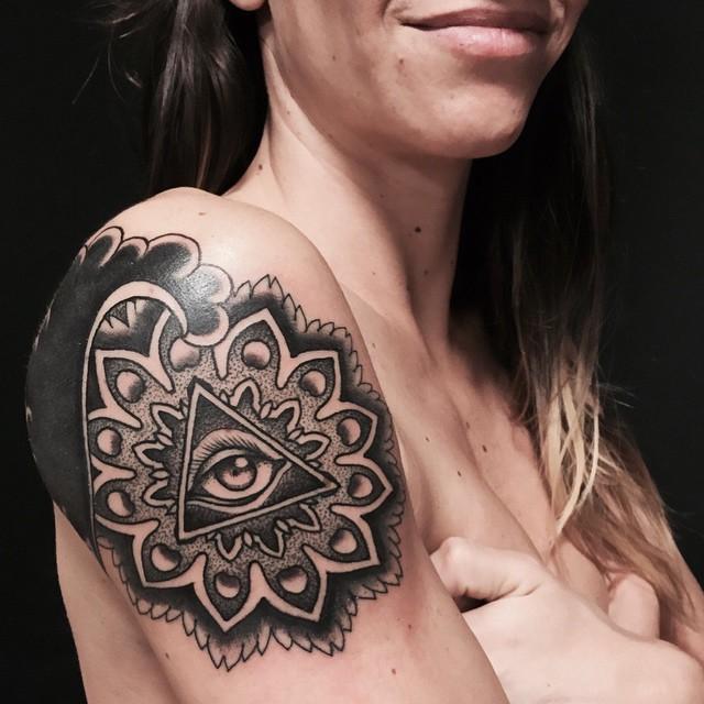 Eye Of Providence Mandala Tattoo on Shoulder