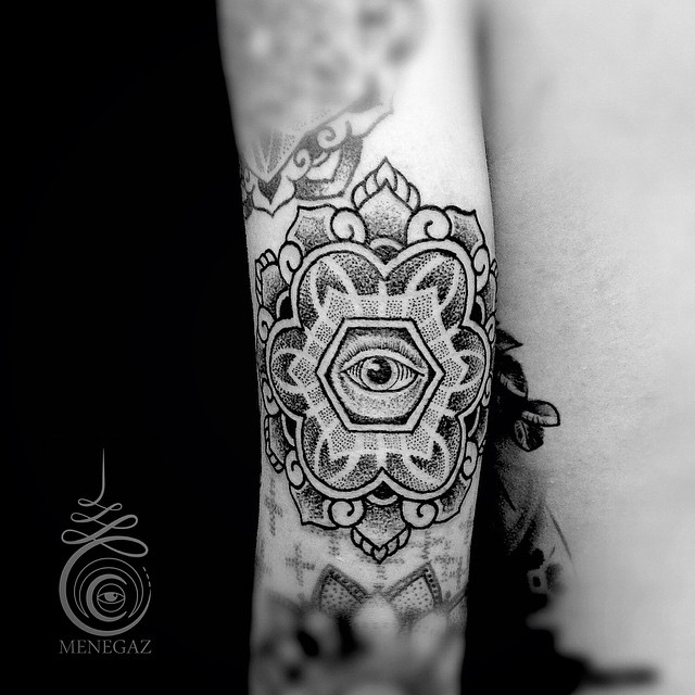 Eye in Hexahedron Dotwork tattoo