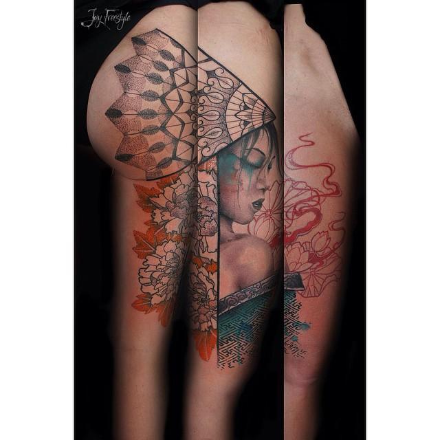Fan Japanese Girl Tattoo