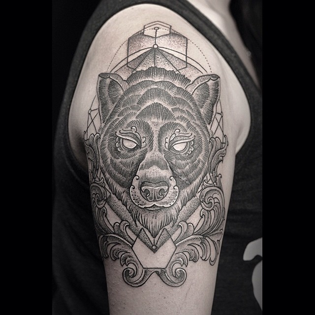 Geometry Background Etching Bear Tattoo on Shoulder