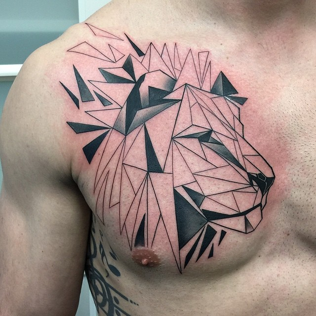 Geometry Pieces Lion Chest Tattoo