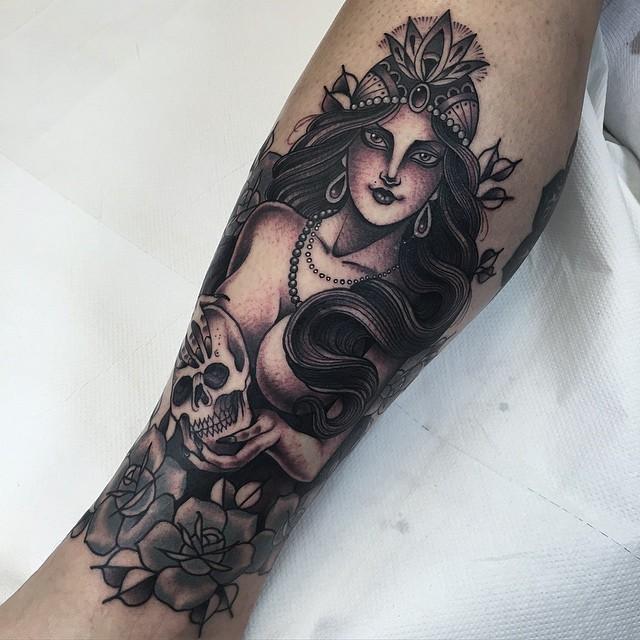 Girl and Skull Tattoo on Leg