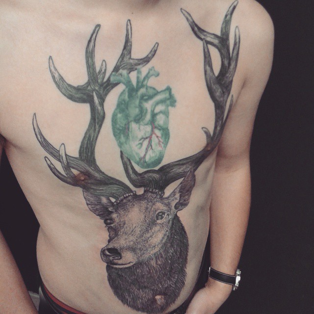 Green Heart Stag Tattoo