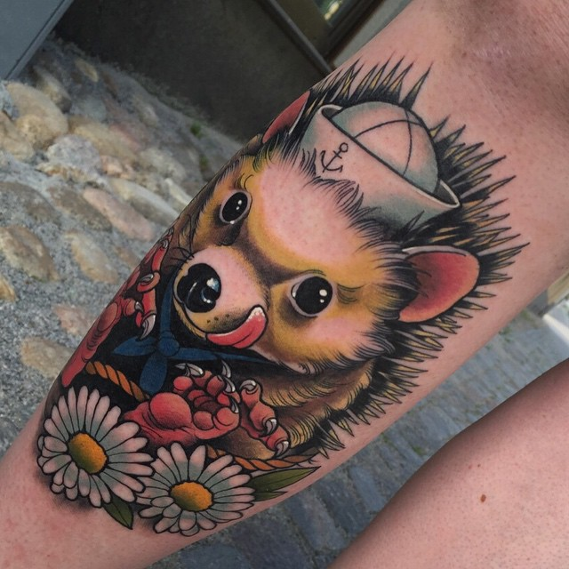 Happy Hedgehog Tattoo on Shin