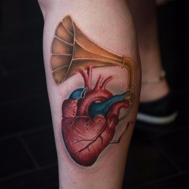 Heart Music Love Tattoo on Leg
