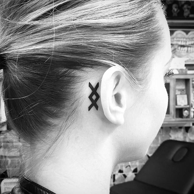 Inguz Viking Rune Tattoo Behind Ear