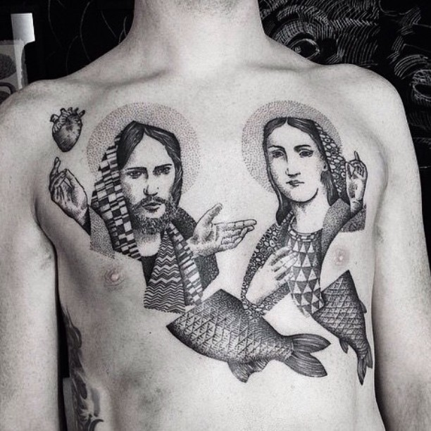 Jesus and Mary Tattoo on Chest
