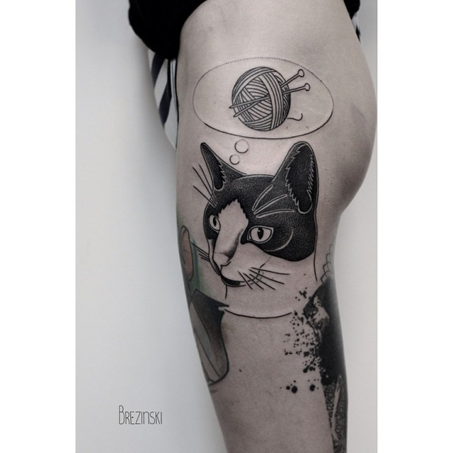 Kneet Ball Desire Cat Tattoo
