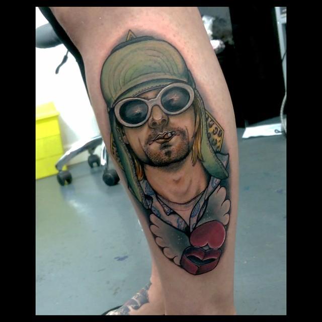 Leg New School Kurt Cobain Tattoo