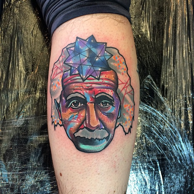 Leg Space Einstein Tattoo