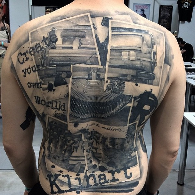Many Photographs Tattoo on Back