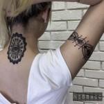 Neck and Arm Blackwork Tattoo