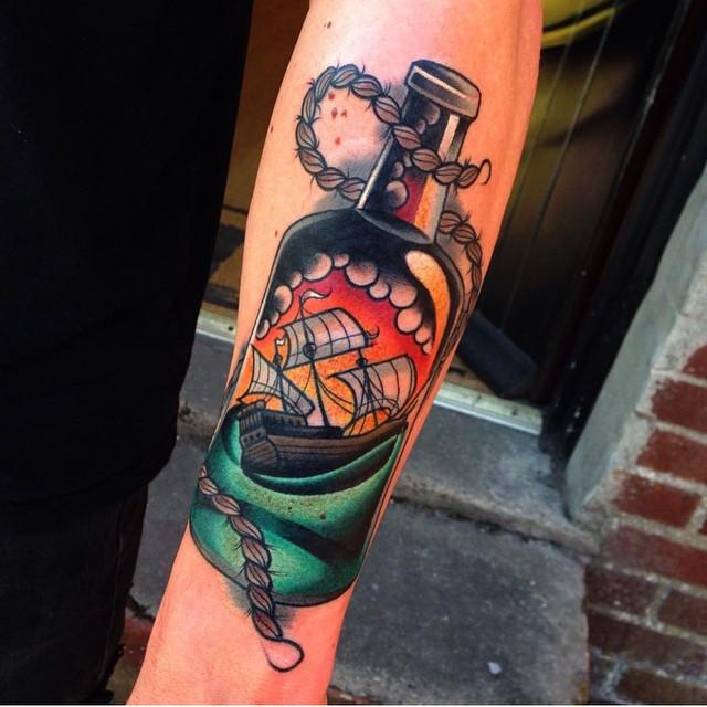 New School Ship in Bottle tattoo