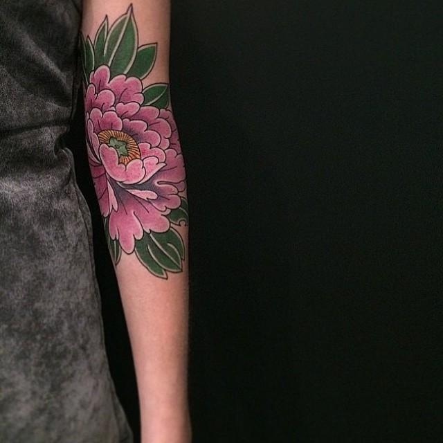 Pink Peony Flower Tattoo on Arm