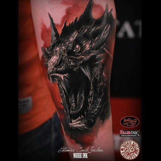 Portrait of Smaug Tattoo on Arm