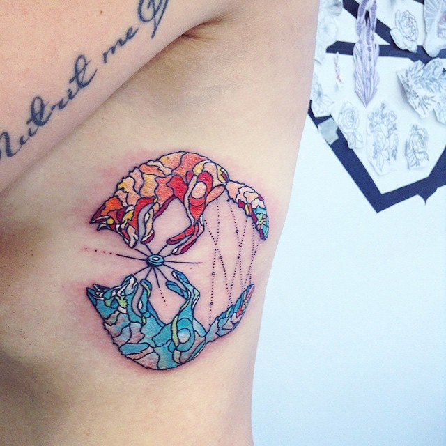 Psychedelic Foxes Tattoo on Ribs