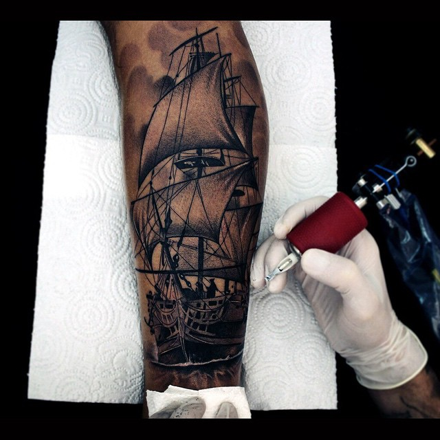Realistic Graphic Ship Sails Tattoo