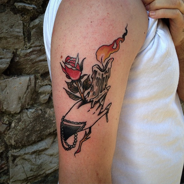 Rose and Candle in Hand Tattoo on Shoulder