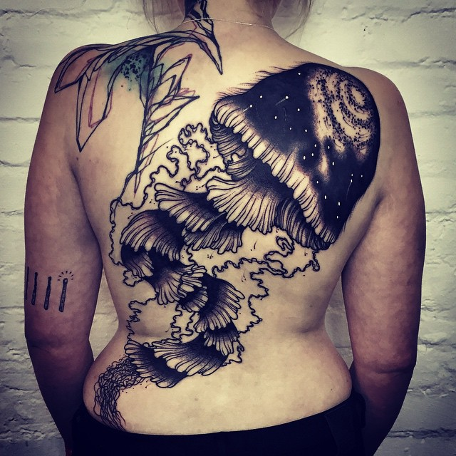 Saturated Jellyfish Tattoo on Back
