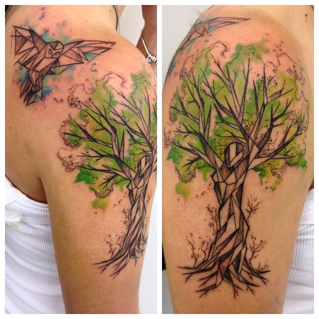 Sketchy Watercolor Tree Tattoo on Shoulder
