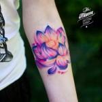 Soft Violet Lotus Tattoo on Arm