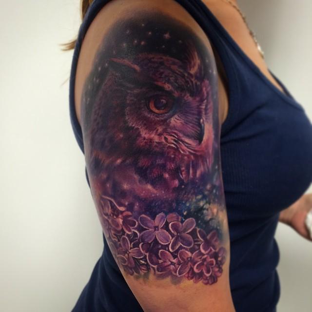 Star Night Owl Tattoo